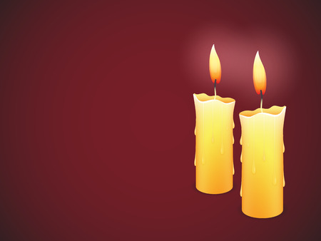 Two burning candles on red background Illustration