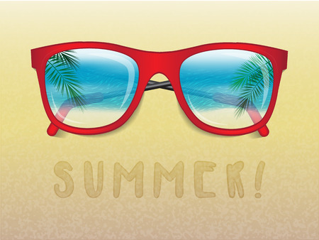 Sunglasses reflecting tropical landscape and the text summer Ilustrace