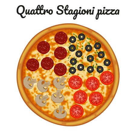 Quattro stagioni pizza with pepperoni, olives, mushrooms, tomato. Object for packaging, advertisements, menu. Isolated on white. Vector illustration. Cartoon.