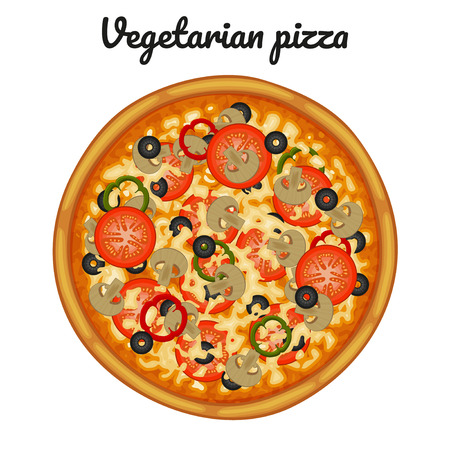 Vegetarian pizza with mushrooms, tomatoes, peppers and olives. Ilustracja