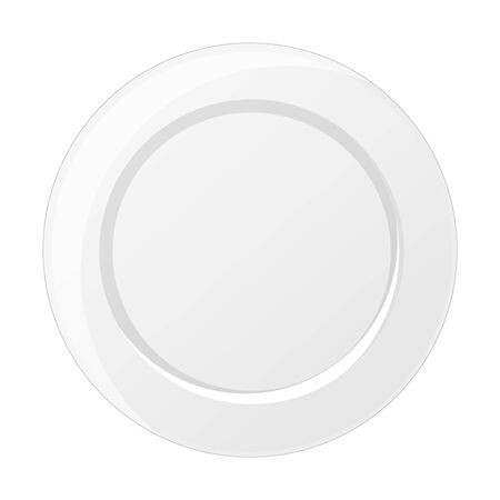 Plate on white bacground. Object for packaging, advertisements, menu. Isolated on white. Vector illustration. Cartoon.