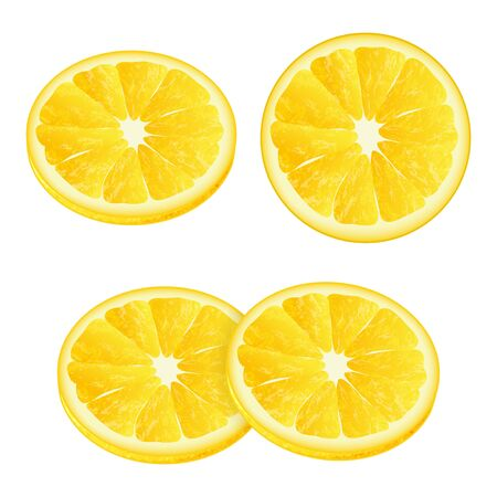Slices of lemons. Realistic style. Vector illustration. Isolated on white. Object for packaging, advertisements, menu. Isolated on white.