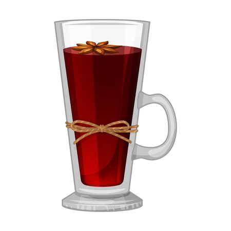 Mulled wine on white background. Sweet fruit. Xmas card. Vector holiday illustration. Cartoon style. Vector illustration. Isolated on white. Object for packaging, advertisements, menu.