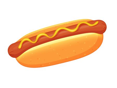 Delicious hot dog on white background. Cartoon style. Vector illustration. Isolated on white. Object for packaging, advertisements, menu.. Unhealthy tasty food. Fast food meal.