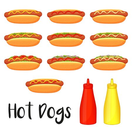 Collection of delicious hot dogs, mustard and ketchup on white background. Cartoon style. Vector illustration. Isolated on white. Object for packaging, advertisements, menu. Black and white. Unhealthy tasty food. Fast food meal.