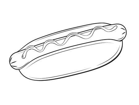 Delicious hot dog on white background. Cartoon style. Vector illustration. Isolated on white. Object for packaging, advertisements, menu. Black and white. Unhealthy tasty food. Fast food meal.