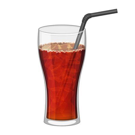 Vaso de cola negro sobre fondo blanco. Símbolo de bebida de comida rápida. Coca refrescante. Ilustración vectorial de dibujos animados. Aislado en blanco. Objeto para envases, anuncios, menú. Ilustración de vector