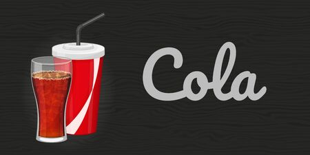 Glass and plastic cup of cola on wood black background. Horizontal flyer. Object for packaging, advertisements, menu. Vector illustration. Fast food. Cartoon style.