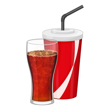 Black cola in plastic cup and transparent glass on white background. Fast food drink symbol. Refreshing coca. Cartoon vector illustration. Isolated on white. Object for packaging, advertisements, menu.