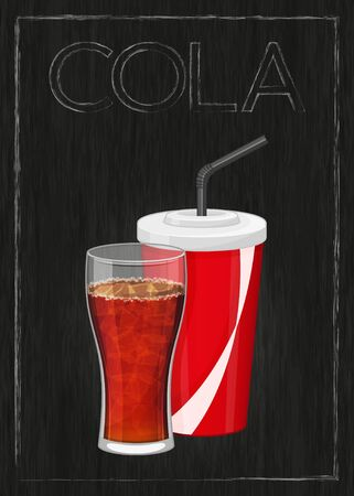 Glass and plastic cup of cola on wood black background. Vertical vector illustration. Fast food. Cartoon style.