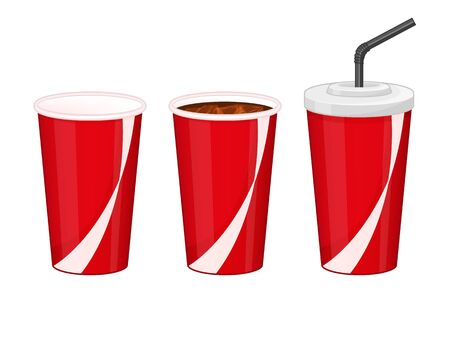 Collection of black cola in plastic cups on white background. Fast food drink symbols. Refreshing coca. Cartoon vector illustration. Isolated on white. Object for packaging, advertisements, menu.