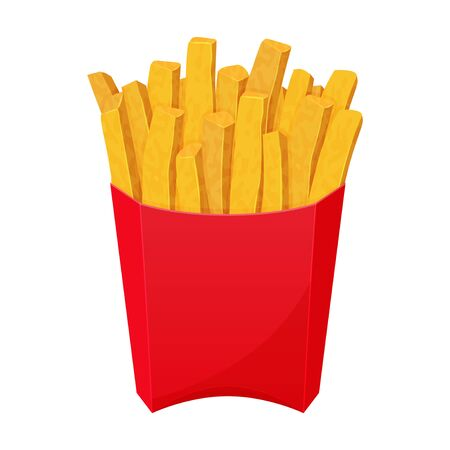 American icon with french fries on white background. Fast food symbol. Yellow potato. Cartoon vector illustration. Isolated on white. Object for packaging, advertisements, menu. Vector Illustratie