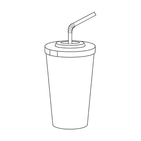 Plastic cup for lemonade on white background. Fast food drink symbol. Black and white vector illustration. Isolated on white. Object for packaging, advertisements, menu. Ilustração