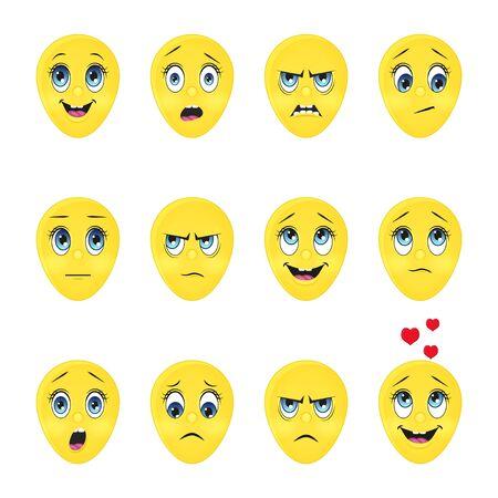 Raccolta di emoji carini. Stile cartone animato. Illustrazione vettoriale. Isolato su bianco. Oggetto per la comunicazione, web. Vettoriali