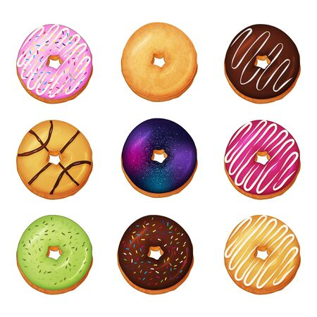 Collection of delicious donuts on white background. Cartoon style. Vector illustration. Isolated on white. Object for packaging, advertisements, menu. Sweet food. Dessert meal. Ilustração