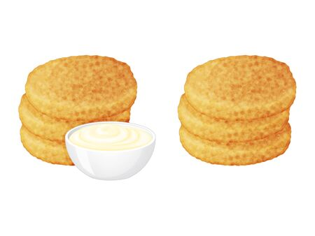 ensemble de pommes de terre rissolées savoureuses avec des icônes de sauces sur fond blanc. Style de bande dessinée. Illustration vectorielle. Isolé sur blanc. Objet pour l'emballage, les publicités, le menu.