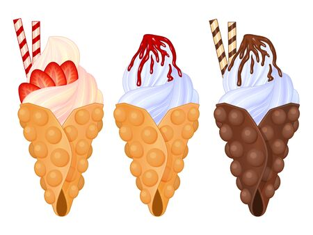 Set of tasty bubble waffle icons on white background. Realistic style. Vector illustration. Isolated on white. Object for packaging, advertisements, menu.