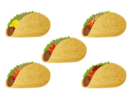 set of tasty tacos icons on white background. Realistic style. Vector illustration. Isolated on white. Object for packaging, advertisements, menu.