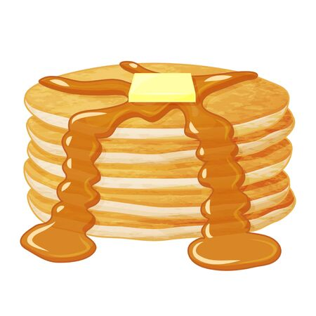 Tasty pancakes with butter. Object for packaging, advertisements, menu. Isolated on white. Vector illustration. Realistic.