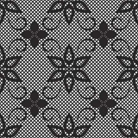 seamless pattern with lace. White background. Endless picture. Vector illustration. Black and white. Иллюстрация