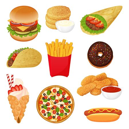 set of fast food icons on white background. Cartoon style. Vector illustration. Isolated on white. Object for packaging, advertisements, menu. Burger, pizza, burito, tacos, hotdog.