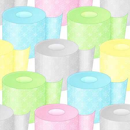 Seamless pattern from color toilet paper on a white background. Cartoon style. Vector illustration. Endless image.