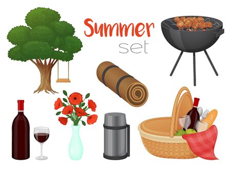 Collection of picnic accessories on a white background. Basket, barbecue, flowers, tree. Isolated object on a white background. Cartoon style.  イラスト・ベクター素材