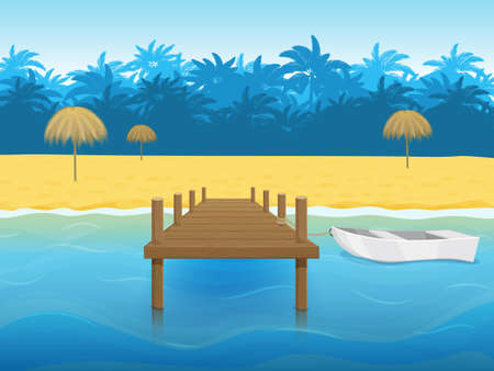 Tropical landscape with palm trees, a beach and a Marina with a boat. Paradise island. Blue sea. Cartoon style. Object for packaging, advertisements, template. Vector illustration. Vettoriali
