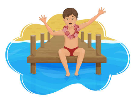The boy is sitting on the pier, against the background of the sea and the beach. Paradise island. Cartoon style. Object for greeting, packaging, advertising, or template. Vector illustration. Ilustracja