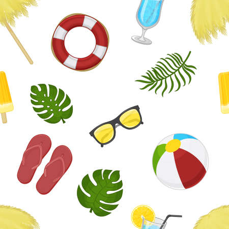 tropical seamless pattern with summer elements on white background. Cartoon style. Endless texture for packaging, advertisements, design. Vector illustration. Ilustracja