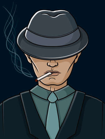 Mafia man with a hat and a cigarette. Gangster. Vector illustration. Hand drawn object for design, advertisements.
