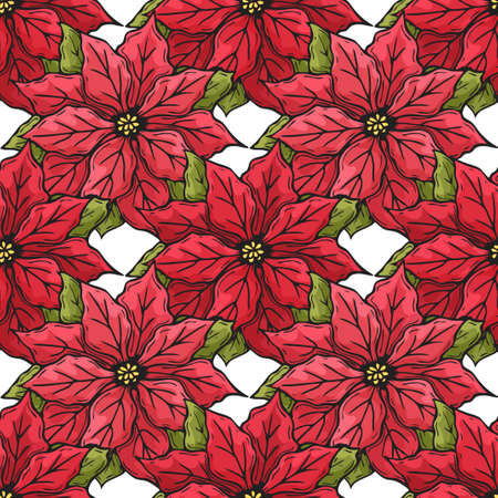 Hand drawn seamless pattern from red poinsettia. Doodle. Endless texture for packaging, advertisements, design. Vector illustration.