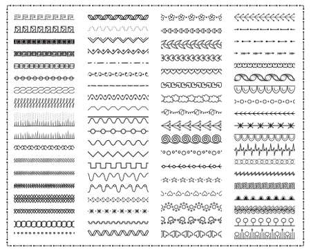 big set of endless elements for decoration. hand drawn objects. to create brushes and frames. isolated on white. Vector illustration. Vetores