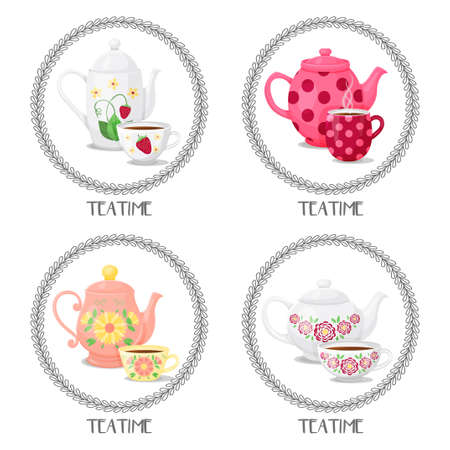 set from frames with teacups and teapots. Teatime. Vector illustration. Cartoon style. Isolated on white.
