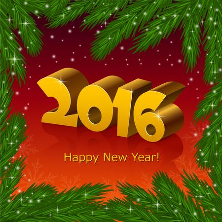 fir tree: New year 2016 and a fir tree frame