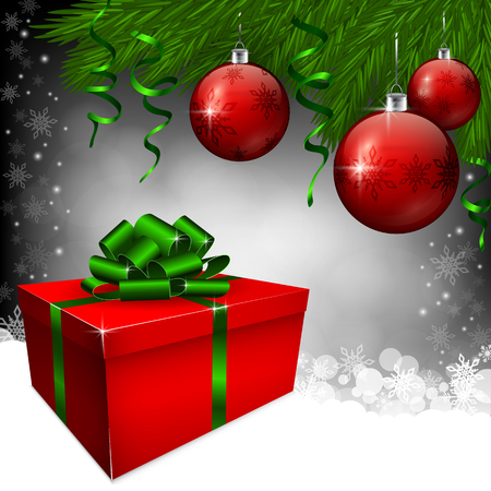 red gift box: A red gift box and christmas baubles