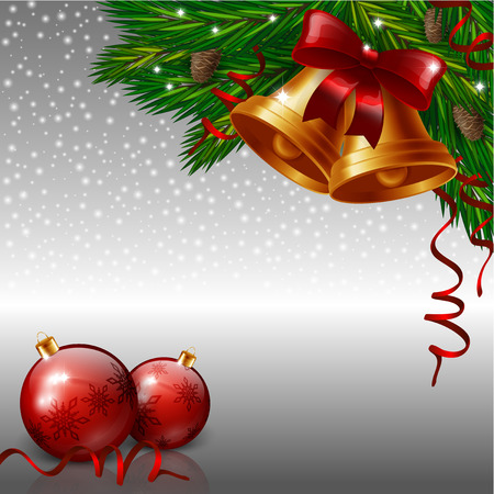 christmas wishes: Christmas bells and red baubles