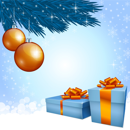 greeting card vector: Gift boxes and Christmas decoration Illustration