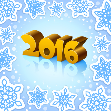 number 16: An editable vector illustration of 2016 New Year numbers on a blue background