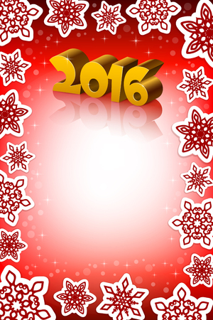 number 16: An editable vector illustration of New 2016 Year numbers on a red background