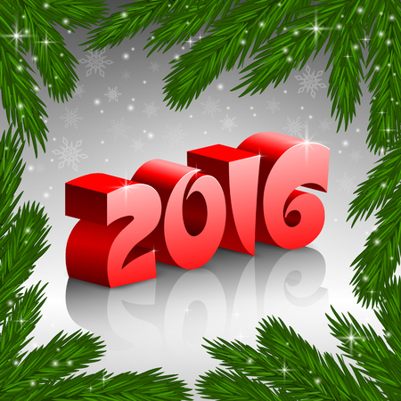 fir tree: An editable vector illustration of 2016 New Year numbers with a fir tree frame Illustration