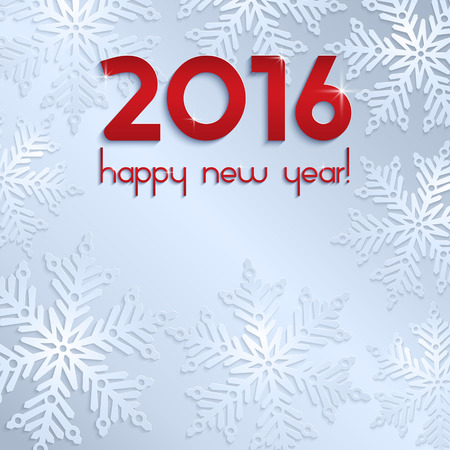 number 16: An editable vector illustration of 2016 New Year numbers on a light background with snowflakes