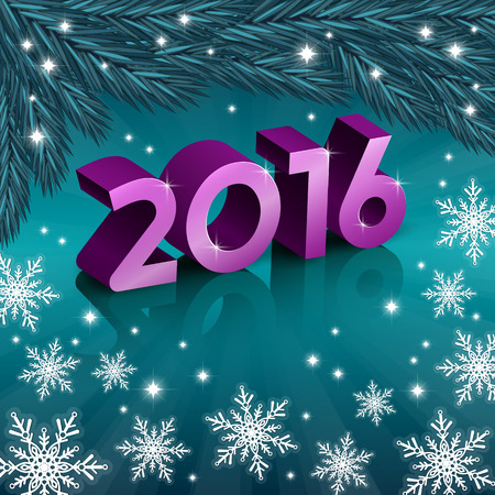 greeting card backgrounds: An editable vector illustration of 2016 New Year numbers on a turquoise background