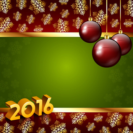 red ball: An editable vector illustration of 2016 New Year numbers on a background with snowflakes