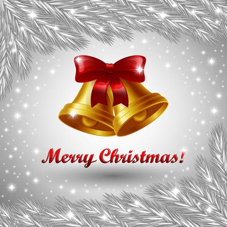 campanas de navidad: Una ilustraci�n vectorial editable de campanas de Navidad y saludo de Feliz Navidad
