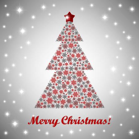 fir tree: Vector Christmas greeting card with a christmas fir tree