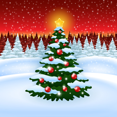 greeting card backgrounds: An editable vector illustration of а Christmas tree and a winter forest