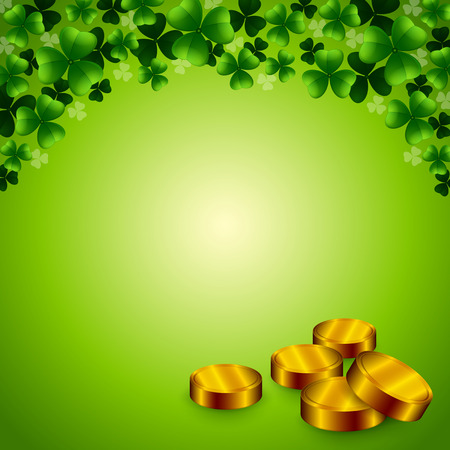 feast of saint patrick: An editable illustration of clovers and coins on a green background