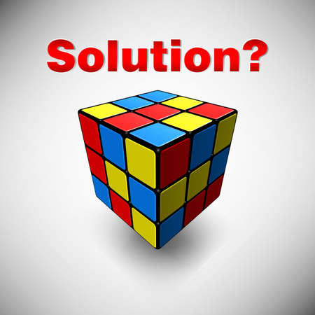 poser: An editable vector illustration of the cube with the word Solution Illustration