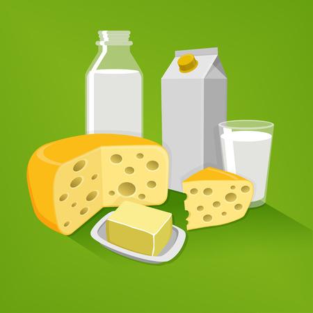Een bewerkbare flat vector illustratie van zuivelproducten op een groene achtergrond